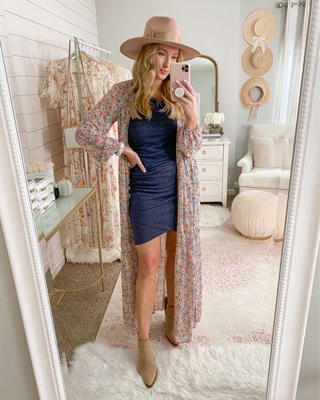 Fall dress // floral kimono // transition outfit // http://liketk.it/2Xpgk #liketkit @liketoknow.it