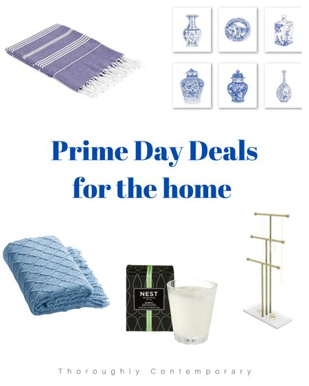 Home Decor Prime Day Deals!! Love this blue Turkish towel. I'm obsessed with these ginger jar prints - a great easy way to create a gallery wall! Add a pretty throw blanket and a luxurious candle to your living room or bedroom. And finally a jewelry organizer to display your collection!  Home decor   blue and white decor   ginger jar   jewelry storage   nest candle   throw blanket   Turkish towels   bath towels   Amazon Prime Day   #LTKhome #LTKsalealert #LTKunder50