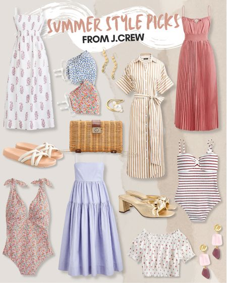 J.Crew, summer dress, beach vacation, wedding guest dress, summer style, summer outfit: white smocked top, floral face masks, white slide sandals, rattan clutch, floral swimsuit, blue maxi dress, beige stripe shirtdress, gold earrings, pearl ring, gold mules, white polka dot top, pink dress, striped one piece swimsuit, pink gem earrings. @liketoknow.it http://liketk.it/3gkcT #liketkit   #LTKunder100 #LTKstyletip #LTKunder50
