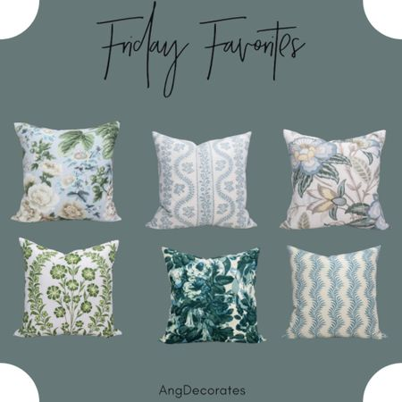 Friday Favorites: Blue and green throw pillows made with gorgeous designer fabrics  #LTKhome