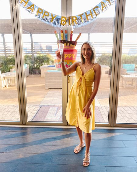 Surprise birthday party yellow outfit of the day from Amazon with bling shoes from Nordstrom sale anniversary #liketkit http://liketk.it/3iiXG @liketoknow.it in Dallas Texas uptown #LTKshoecrush #LTKunder50 #LTKtravel