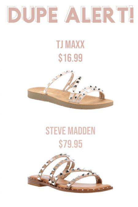 """Such a great lookalike for the super popular Steve Madden """"Skyler"""" studded sandals! I have another pair of shoes by this Cushionaire brand and they're amazing quality and super padded/comfortable! #lookforless #tjmaxx #stevemadden #designerinspired http://liketk.it/3c76z #liketkit @liketoknow.it Shop your screenshot of this pic with the LIKEtoKNOW.it shopping app"""