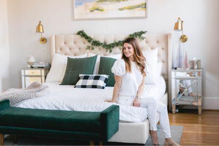 Holiday decor, bedroom decor, guest bedroom, master bedroom, garland, green decor, bench, bed frame   #LTKhome #LTKSeasonal
