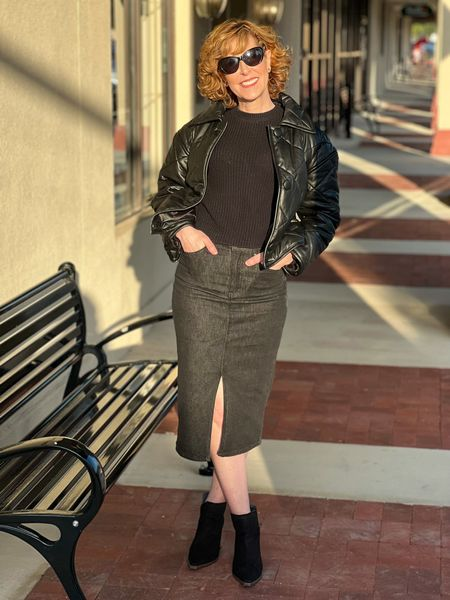 Faux leather jacket, quilted jacket, quilted faux leather jacket, fall jacket, black denim skirt, black crewneck sweater, Nordstrom outfit, fall outfit, fall look  #LTKstyletip #LTKshoecrush #LTKworkwear