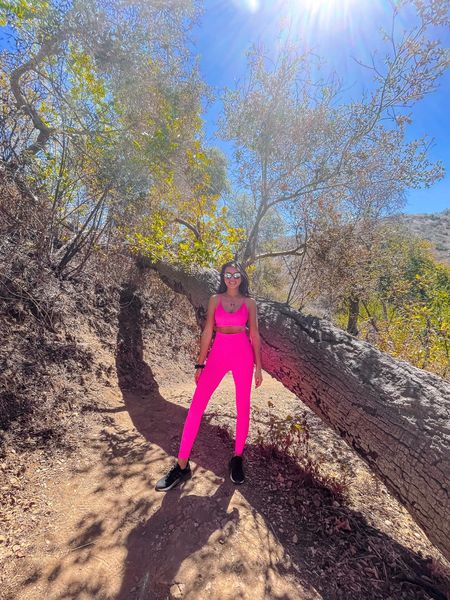 There she glowsss ✨ Fun work out set!   #neon #neonbright #pink #workoutset #workoutfit #matchingset #worktop #leggings #athleisurewear #activewear #hikingoutfit #adidas #tennisshoes #sneakers #thestylizt   #LTKunder50 #LTKunder100 #LTKfit
