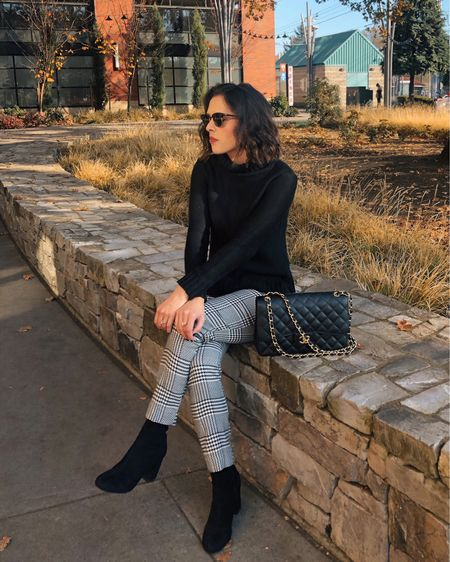 A black and white outfit for casual chic winter style. Linked similar plaid pants, black turtlenecks, and black ankle boots in the @liketoknow.it app! http://liketk.it/37t2F #liketkit #LTKunder100 #LTKworkwear #LTKstyletip #WinterStyle #AnkleBoots #NeutralOutfit #Neutrals