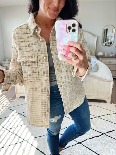 Size medium in this plaid & Pearl shacket- 20% off with code ASH