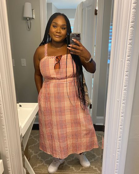 Loving this summertime dress from #Madewell it has a really cute cutout detail in the back and looks perfect with sneakers, sandals, or platforms. I chose to pair it with my all white #puma Cali sneakers for a casual look.  #midsizefashion #midsizestyle #LTKstyletip #LTKcurves #LTKunder100 #liketkit @liketoknow.it http://liketk.it/3hTU9