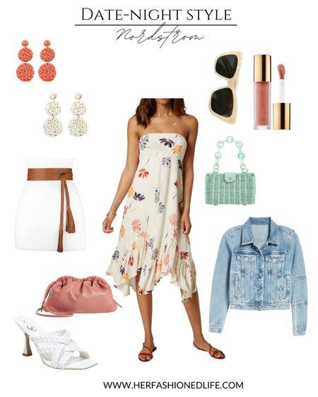 Summer date night outfit, wedding guest outfit, floral dress, braided heels , sunglasses, jean jacket   #LTKunder100 #LTKwedding #LTKSeasonal