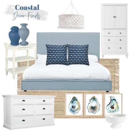 Blue and white coastal bedroom decor ideas!     #LTKunder100 #LTKhome #LTKsalealert