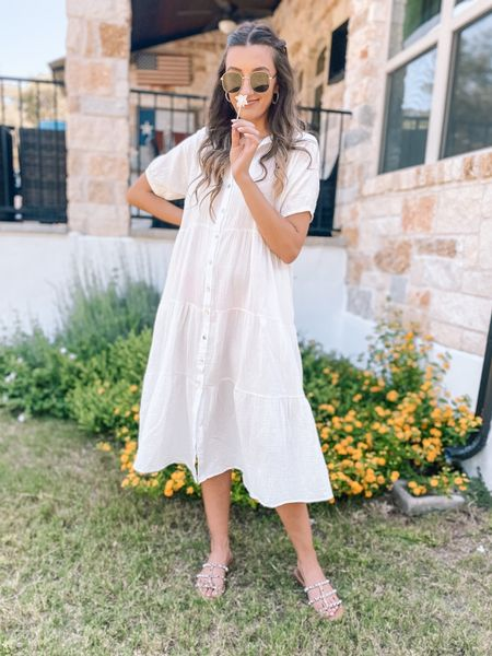Obsessed with this white midi dress from one of our favorite boutiques. Wearing a size 6, runs big.      #LTKunder100