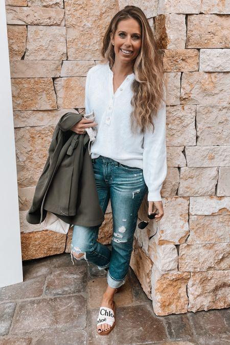 Business casual, jeans, sandals, white sweater, Henley, Chloe, trench   #LTKunder100 #LTKshoecrush #LTKworkwear