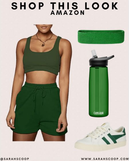 Get this stylish monochromatic workout set with gym essentials 🏋️♀️   #amazon #workout #outfit #inspo #outfitinspo #activewear #active #green #monochromatic #style #fashion #waterbottle #sweatbands #shoes #shorts   #LTKunder100 #LTKstyletip #LTKfit