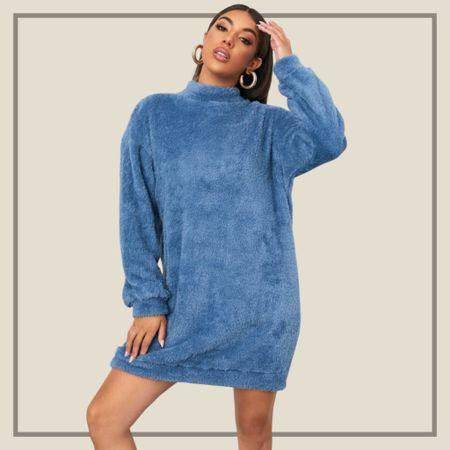 Mock neck teddy sweater dress  #LTKstyletip #LTKunder50