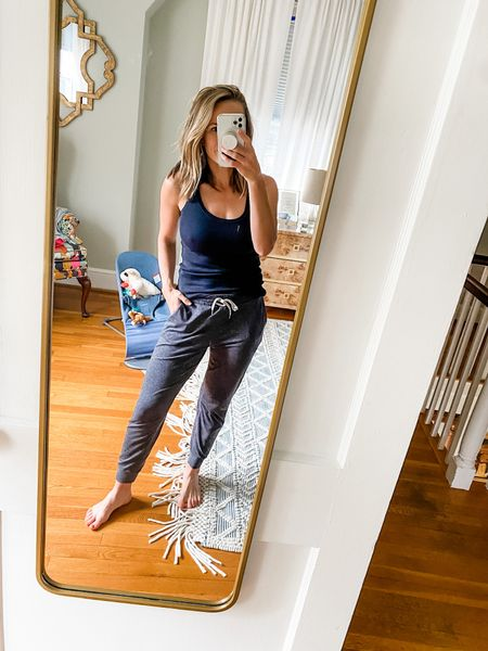 A perfect home lounge outfit — I love these joggers. They're the best I've ever found. And this black tank top is a great basic.   #LTKSeasonal #LTKhome #LTKstyletip