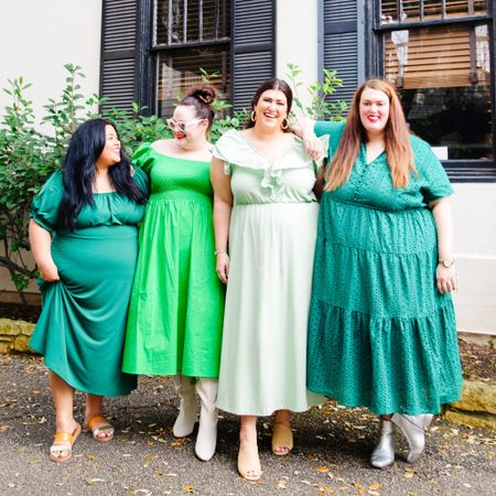 🍀FOUR LEAF CLOVER🍀 Do the four of us create a four leaf clover? I feel lucky everyday for these three amazing girlfriends of mine!   Happy St.Patrick's Day! All these dresses are available now @eloquii! Shop them thru my   #LTKSeasonal #LTKcurves #LTKSpringSale