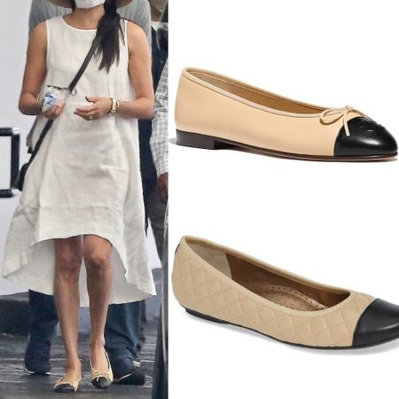 Meghan's Chanel ballet flats also seen on the duchess on her return to California following the Sussexes NYC tour #dupe #lookforless #shoes   #LTKstyletip