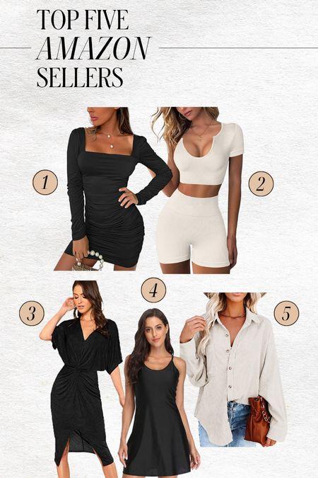 TOP FIVE AMAZON BEST SELLERS (this week) ⭐️  — Little black dress — Cocktail dresses — Wedding guest dresses — Workout set — Exercise dress — Shacket  #LTKstyletip #LTKunder100 #LTKunder50