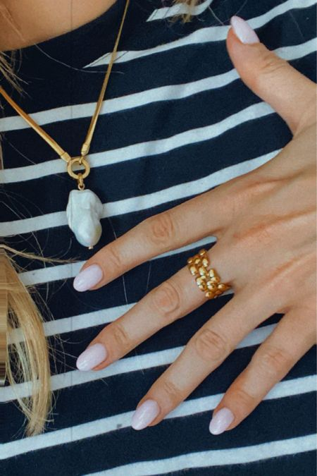 New in Monica vinader gold ring and gold Pearl necklace , arket navy stripe top, Bretton top @liketoknow.it #liketkit http://liketk.it/3m8uZ #LTKeurope