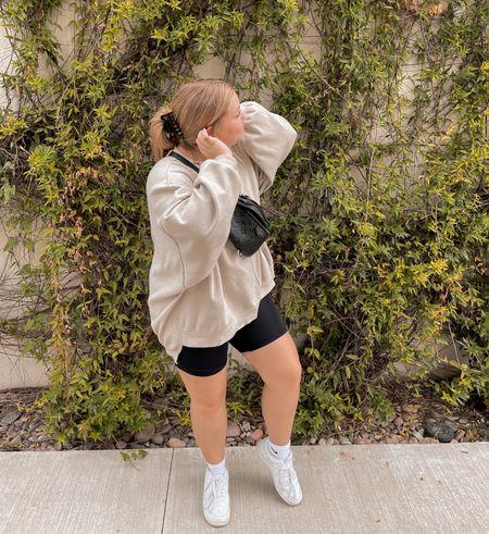 Bike shorts, street wear, casual style, oversized crewneck  #LTKstyletip