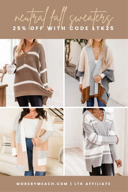 These neutral fall sweaters from Pink Lily are 25% off today! Use code LTK25 at checkout. || sweater tunic, striped sweaters, colorblocked cardigan, colorblocked poncho, poncho sweater, long sweaters, sweaters for leggings   #LTKSeasonal #LTKSale #LTKunder50