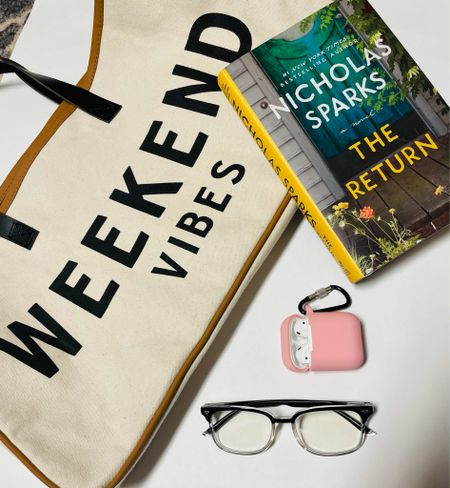 weekend vibes — some amazon favorites for the weekend! Book, AirPods, blue light glasses, and a cute tote!   #LTKunder50 #LTKitbag #LTKtravel