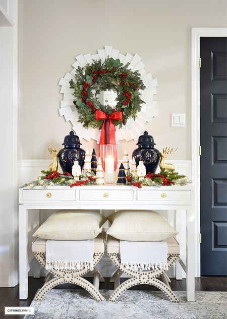 Chic holiday entryway decor! Use symmetry and monogrammed ginger jars for a gorgeous look!  #LTKHoliday #LTKhome #LTKstyletip