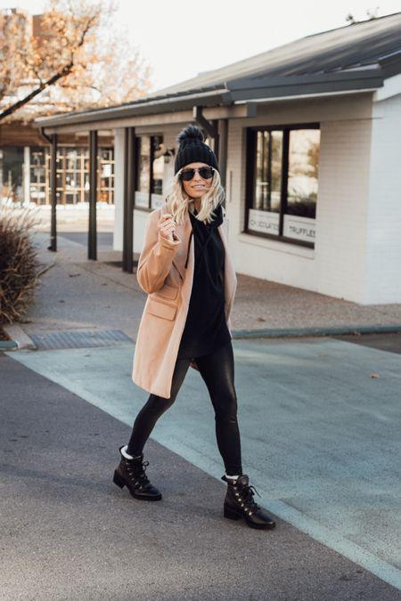 Hoodie with leggings, winter combat boots and a camel coat 🖤  #LTKunder100 #LTKstyletip #LTKSeasonal