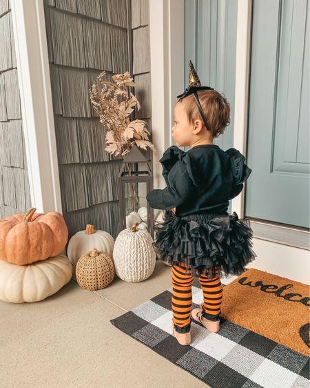 Fall outdoor decor. Fall porch decor. Toddler costume. Witch costume. Baby girl witch costume. Toddler tights. Amazon finds. Autumn decor. Pumpkin decor.   #LTKkids #LTKSeasonal #LTKHoliday