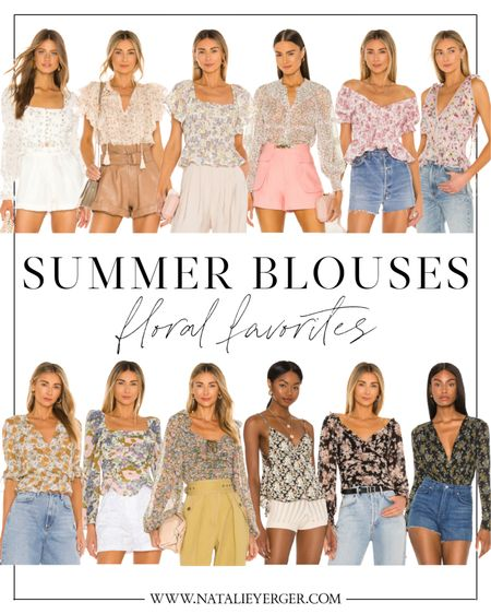 Pretty floral blouses by Revolve at a bunch of different price points. 🤍 So cute styled with jeans or jean shorts!   floral top, summer top, floral blouse, floral blouses, revolve top