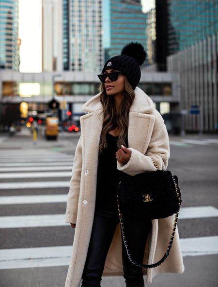 Casual fall outfit  Express shearling coat Commando Faux Leather Leggings    #LTKstyletip #LTKSeasonal #LTKitbag