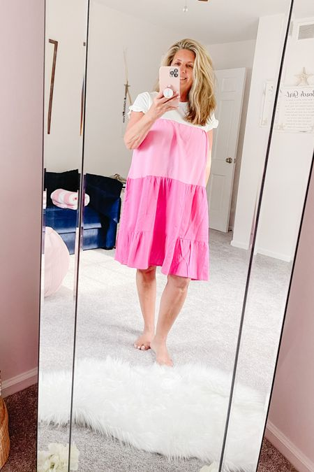Summer dress alert!!   How cute is this color block ruffle sleeve t shirt dress.  Super light weight and going to look super cute with tennis shoes or wedges. Follow my http://liketk.it/3gbhc #liketkit @liketoknow.it for the details.