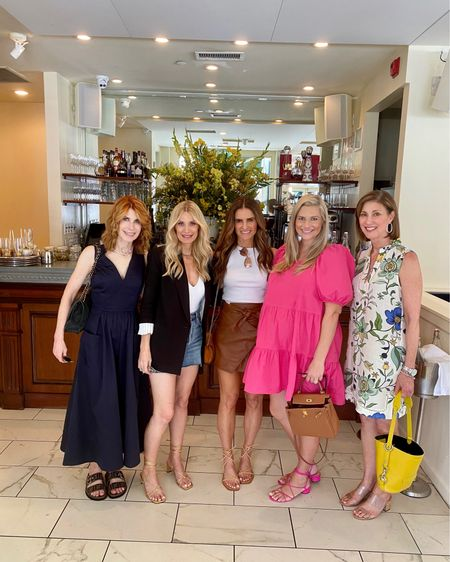 It's been a long time since I've been out to lunch with my blogger buddies. Love this group and am so thankful for these fashionistas!!! It was fun to wear a new dress and put on make up!! Hope you all are safely and slowly emerging from quarantine!!! By the way Tory Burch is having a great sale this weekend. 25% off sale prices with Code EXTRA. I found some great summer dresses and sandals!! http://liketk.it/2QsUt #liketkit @liketoknow.it #LTKstyletip #LTKsalealert #LTKspring You can instantly shop my looks by following me on the LIKEtoKNOW.it shopping app