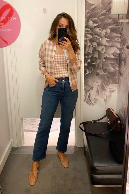 Jeans run big, size down. I'm 5'6 and wearing 0 regular. Cardigan in xs. Tank in small but need xs    #LTKsalealert #LTKstyletip