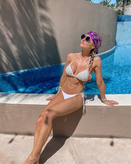 Another pool day in mexico. This pearl embedded white bikini is currently on sale for under $50. It's from Meshki and is a string bikini making it more adjustable. I love the swimwear from meshki it's high quality and inexpensive. Great swimsuit for a bride if you have a beach vacation for a bachelorette party or honeymoon. http://liketk.it/3a7K3 #liketkit @liketoknow.it #LTKunder50 #LTKswim #LTKwedding