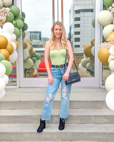 Recreate this looks for under $100! These mom jeans are super comfortable and only $22. 🤯 Bodysuit $13 from Amazon (comes in many colors), boots from Target, double G belt $25. Amazon finds, Target finds, dupe. http://liketk.it/3kEg2 @liketoknow.it #liketkit #LTKsalealert #LTKstyletip #LTKunder50 #LTKunder100