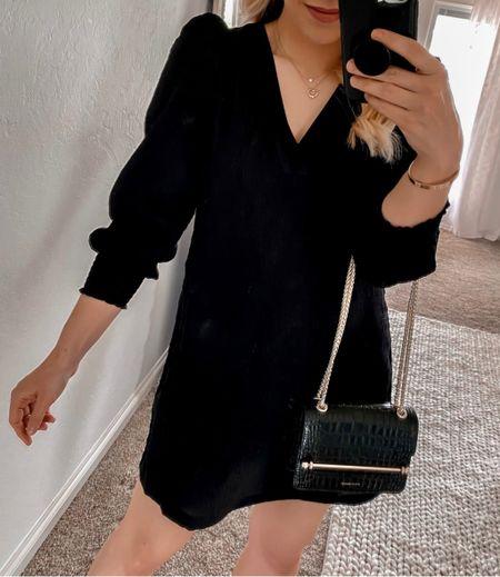Black Dress, Fall Dress, Black Booties, Mini Black Bag, Fall Outfit Ideas  #LTKshoecrush #LTKSeasonal #LTKunder100