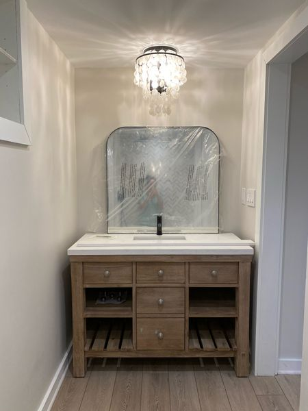 A work in progress! Can't wait to finish up this basement bath