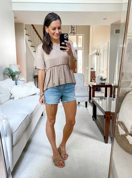 Amazon fashion finds - amazon peplum tee (tts wearing a small), perfect for fall transition season! Paired with jean shorts and sandals for a summer lol.   #LTKsalealert #LTKstyletip #LTKunder50