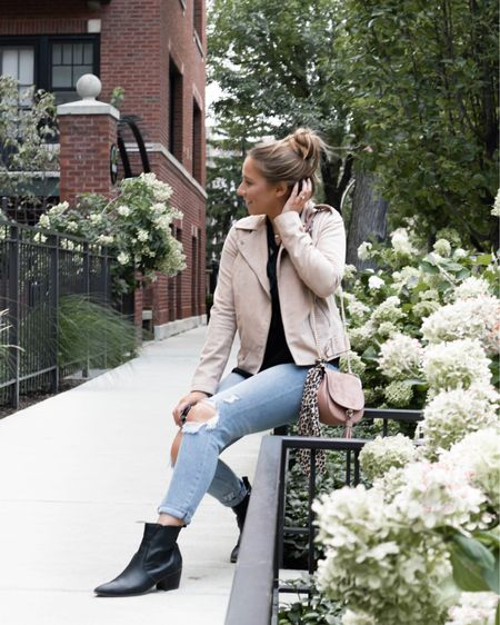 Ripped denim and blush moto jacket kind of fall fashion uniform. Linked is my suede pink crossbody, leopard hair tie, and black booties. http://liketk.it/2G9bf #liketkit @liketoknow.it #LTKunder50 #LTKunder100