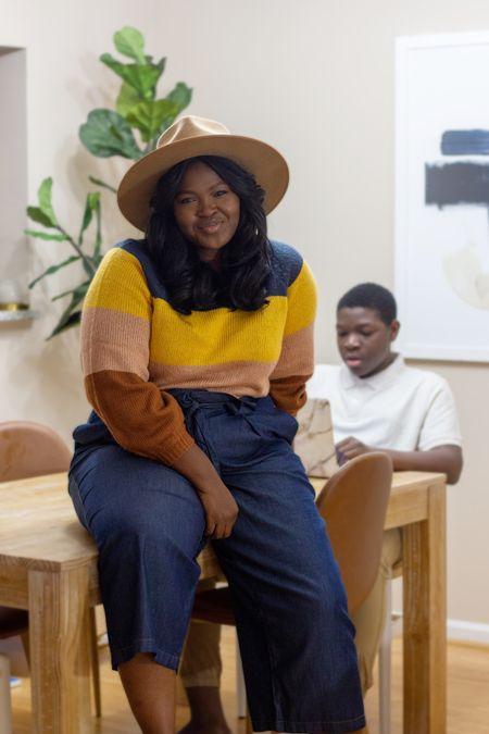 White brim fedora striped sweater Denim trouser   #LTKcurves #LTKunder100 #LTKfamily