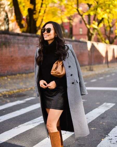 Houndstooth coat with leather skirt and suede boots.   #LTKshoecrush #LTKSeasonal #LTKstyletip
