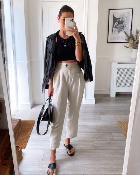 Yesterdays ootd  Sizes  Leather jacket uk 8 (runs small) Crop top xs Linen trousers uk 8  http://liketk.it/3iXOa #liketkit @liketoknow.it