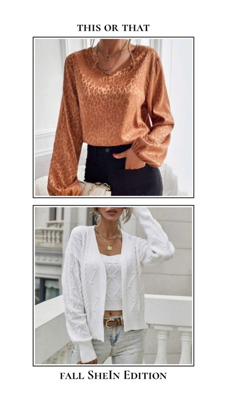 Fall SheIn finds - This or that. Satin top or matching top and cardigan set? Find these tops and more for under $25 at SheIn! Rust burnt orange satin leopard print blouse and white knit top and cardigan set. http://liketk.it/3ncXA @liketoknow.it #liketkit #LTKSeasonal #LTKunder50 #LTKunder100