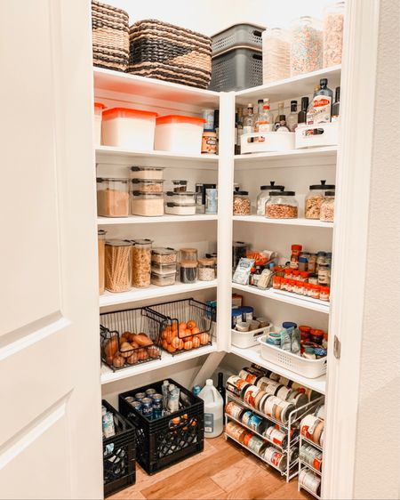 Pantry organization- the items we used from Amazon and The Container store to organize our pantry!    Having an organized pantry is so helpful - I enjoy going into the pantry now and can find things SO much quicker!           Pantry organization, pantry organizers, pantry decor, home decor, baskets, storage baskets, amazon finds, amazon home, the container store, Rubbermaid, pantry storage, home organization, home decor, kitchen decor, #ltkstyletip  #LTKfamily #LTKhome #LTKunder50