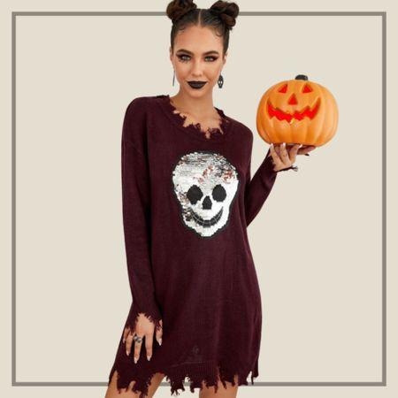 Sequin skull pattern halloween distressed knit dress  #LTKSeasonal #LTKunder50 #LTKstyletip