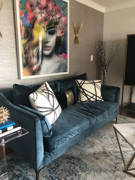 Update your living room and home decor with these cool pieces.   Living room decor, living room inspiration, sofa, blue velvet couch, modern home decor, living room furniture, modern pillows.   Follow me on LIKEtoKNOW.it for more inspiration!  #LTKbeauty #LTKstyletip #LTKhome