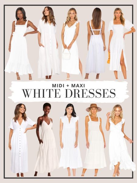 Sharing our favorite white midi and mixi dresses here! http://liketk.it/3g2t2 #liketkit @liketoknow.it #whitedresses #mididress #maxidress