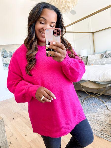 Hot pink sweater great for leggings  Use code Taryn20 to get sweater for 20% off   #LTKunder100 #LTKsalealert #LTKunder50
