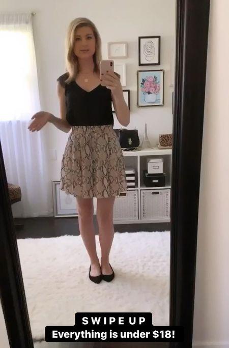 Comfy yet dressed up look with snake print skirt. Affordable outfit! Everything under $20! Amazon finds.   Comfy skirt  Lace top  Black lace  Snakeskin  Black ballet flats  Amazon Finds  #amazonfashion #amazonfinds   #StayHomeWithLTK #LTKunder50 #LTKsalealert